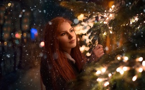 Picture winter, girl, snow, branches, spruce, red, needles, bokeh, Nya, Tanya Markova