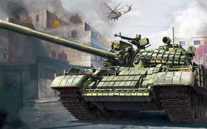 Picture war, figure, Mi-24, Soviet medium tank, fighting, T-55АМВ, hinged dynamic protection