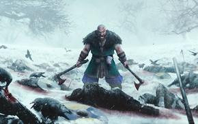 Wallpaper fury, strong, crow, blade, berserk, man, axe, ice, war, viking, death, blood, Expeditions Viking, ken, ...