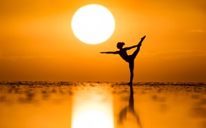 Picture sea, the sun, sunset, mood, dance, Kim Henry