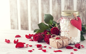 Wallpaper valentine`s day, petals, the holiday of all lovers, roses, marshmallows, red, Bank, gift