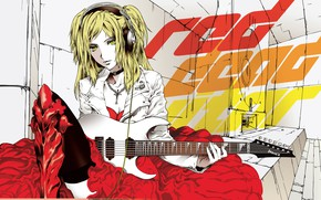 Picture girl, guitar, anime, art, singer, two, Vocaloid, Vocaloid, Kagamine Rin