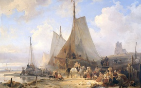Wallpaper Wijnand Nuijen, sail, Fishing Boats on the Beach with Fishermen and Women, Sorting The Catch, ...