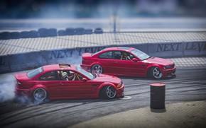 Picture Red, Auto, BMW, Machine, Asphalt, Skid, Machine, Red, Drift, BMW M3, DRIFT, Two, Tandem DRIFT
