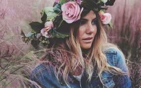 Picture girl, flowers, face, hair, wreath