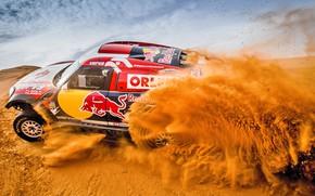 Picture Sand, Mini, Dust, Sport, Speed, Race, Hills, Red Bull, Rally, Rally, Dune, Raid, MINI Cooper, …