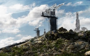 Picture stones, mountain, facilities, Half Life 2, Watchtower
