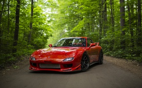 Wallpaper sports car, forest, Mazda RX-7, road, red