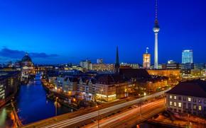 Picture bridge, river, building, home, Germany, night city, Germany, Berlin, Berlin, the river spree, Spree River