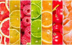 Picture berries, raspberry, lemon, orange, lime, citrus, fruit, currants, vitamins, grapefruit, slices, Mandarin