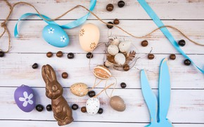 Picture chocolate, eggs, feathers, Easter, socket, Ears, Holiday, wooden background, Bunny