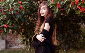 Picture leaves, girl, sweetheart, hair, beautiful, cutie, Rowan, Rus, Karina Kozyreva