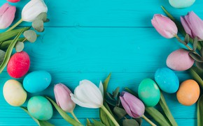 Picture flowers, eggs, colorful, Easter, tulips, wood, pink, flowers, tulips, spring, Easter, eggs, violet, decoration, Happy, …