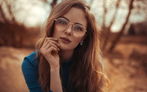 Picture look, trees, pose, background, model, portrait, makeup, glasses, hairstyle, brown hair, beauty, bokeh, Anne Hoffmann, …