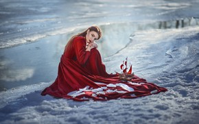 Picture snow, sailboat, makeup, dress, sponge, in red, Assol