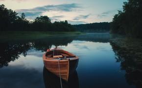 Picture fog, river, boat
