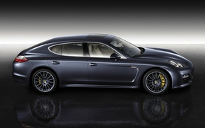 Picture Reflection, Porsche, Wheel, Panamera, Background, Lights, Car, Drives, Side view