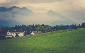 Picture grass, mountains, clouds, fog, slope, village, countryside