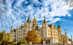 Picture autumn, the sky, the sun, clouds, trees, Germany, Palace, Schwerin