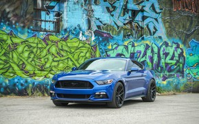 Picture blue, background, graffiti, Ford Mustang, the front