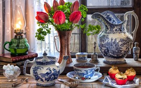 Wallpaper flowers, style, tea, books, lamp, window, the tea party, tulips, sugar, set, cupcakes