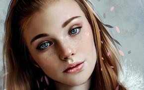 Picture Girl, art, blue eyes, lips, face, redhead, digital art, artwork, portrait, mouth, close up, freckles, …