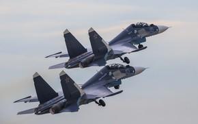 Wallpaper Russia, pair, flight, multipurpose, fighter, Su-30CM