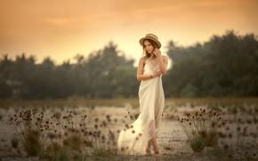 Wallpaper dress, Annie Of Antikov, hat, girl, mood, girl, pose