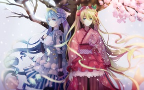 Picture snow, flowers, tree, petals, dress, vocaloid, hatsune miku, anime, art, akiyoshi