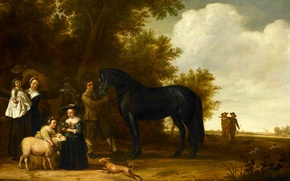 Picture people, tree, horse, oil, picture, Group Portrait in a Landscape