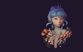 Picture flowers, spring, art, Girl, Mikhail Kozyrev