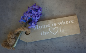 Picture love, flower, heart, wood, note, board, home, blue flower, tag