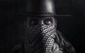 Wallpaper hat, portrait, look, people, bandit, mask