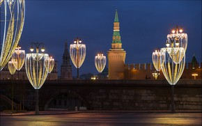 Picture lights, Moscow, The Kremlin, Russia, night city, garland, Moskvoretskaya tower