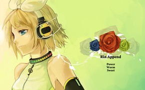 Picture girl, roses, anime, headphones, art, Vocaloid, Vocaloid, Kagamine Rin
