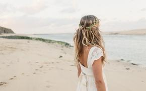 Picture sand, beach, blonde, white dress, curls