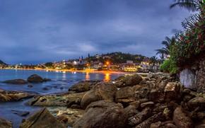 Picture sea, trees, sunset, lights, stones, palm trees, coast, home, the evening, lights, Brazil, Santa Catarina, ...