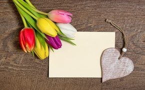 Wallpaper heart, love, colorful, wood, tulips, romantic, tulips, romance, with a holiday!, heart, bouquet