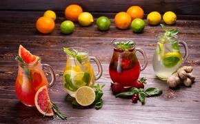 Picture lemon, strawberry, drinks, mint, grapefruit, fresh, lemonade, ginger, fruits and berries