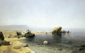 Picture landscape, fog, stones, boat, oil, canvas, Clear Water, Ruthin Sadkowski