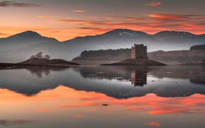 Picture mountains, lake, tower, Scotland, glow, castle Stalker