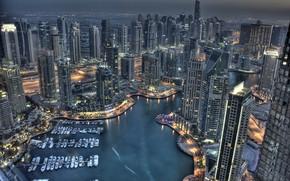Picture building, yachts, Bay, Dubai, night city, Dubai, skyscrapers, harbour, UAE, UAE, Dubai Marina, Dubai Marina