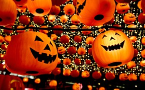 Picture China, pumpkin, Halloween, lanterns, Liaoning province