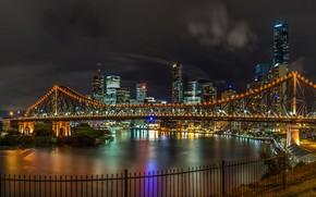 Picture river, promenade, lights, night, Australia, lights, home, bridge, Brisbane