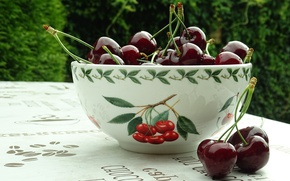 Picture greens, nature, cherry, berries, labels, table, Shine, food, Cup, bowl, cherry, cherries, cottage, bowl