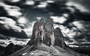 Picture the sky, mountains, Dolomites Italie