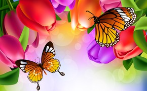 Wallpaper brightness, tulips, butterfly, figure, flowers
