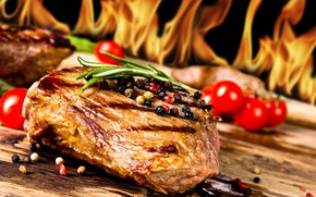 Wallpaper fire, flame, meat, spices, steak, grill