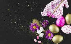 Picture flowers, eggs, Easter, Holiday, chrysanthemum
