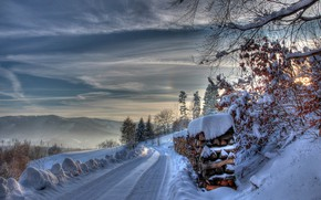 Picture winter, road, snow, wood
